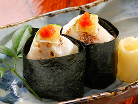 Grilled fugu (blowfish) shirako sushi